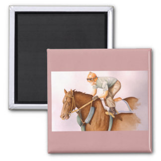 Race Horse and Jockey WaterColor Magnet