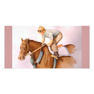 Race Horse and Jockey WaterColor Photo Card