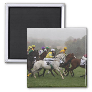 Race Horse Field Square Magnet