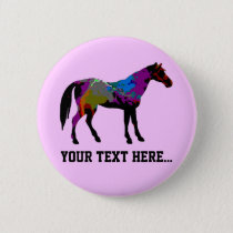 Race Horse Personalised Pinback Button