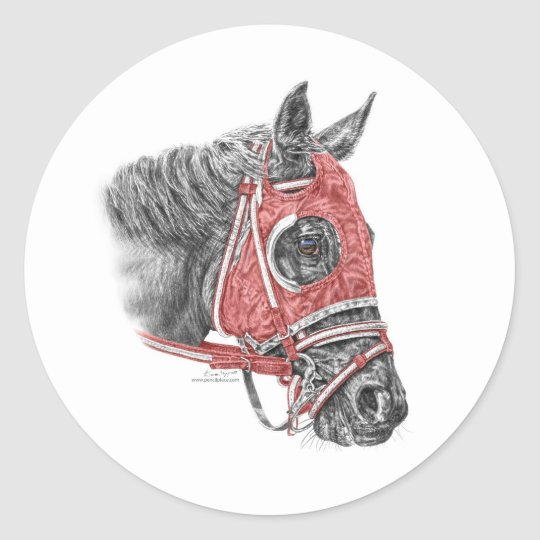 Race Horse Portrait Silks Classic Round Sticker