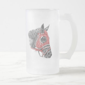 Race Horse Portrait Silks Frosted Glass Beer Mug