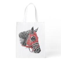 Race Horse Portrait Silks Grocery Bag