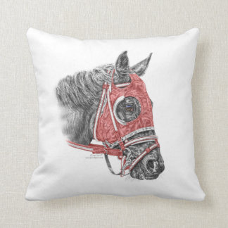 Race Horse Portrait Silks Throw Pillow