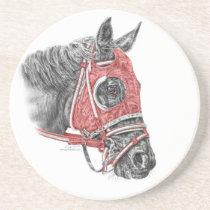 Race Horse Portrait Silks Sandstone Coaster
