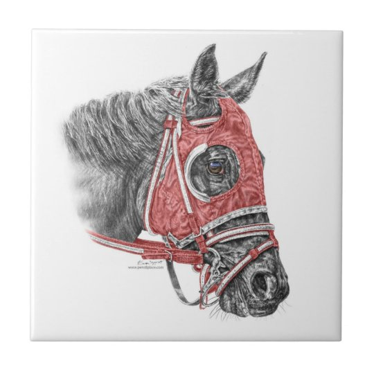Race Horse Portrait Silks Tile