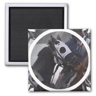 Race Horse Square Magnet Magnet