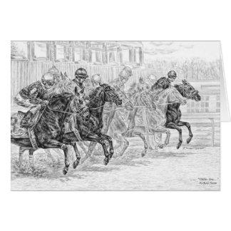 Race Horses at Starting Gate Art by Kelli Swan Greeting Card