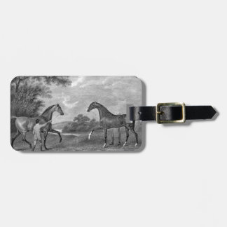 Race Horses Black and White Luggage Tag