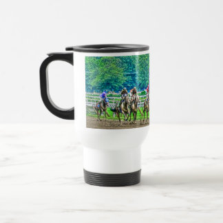 Race-Horses Coming to the Stretch Photo-Art Travel Mug