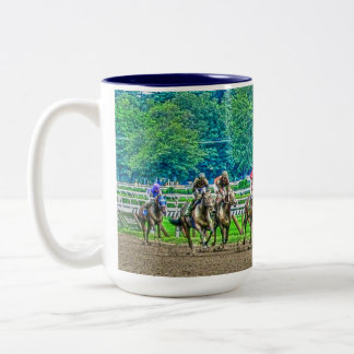 Race-Horses Coming to the Stretch Photo-Art Two-Tone Coffee Mug