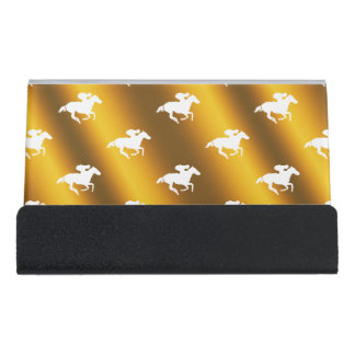 Race Horses  - Graphic Gold Desk Business Card Holder