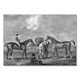 Race Horses Vintage Art Table Card