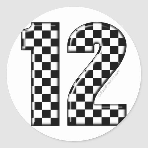 race number 12 round stickers