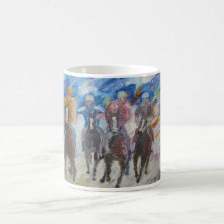 Race Of Horses And Men Coffee Mug