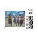 Race Of Horses And Men Stamp