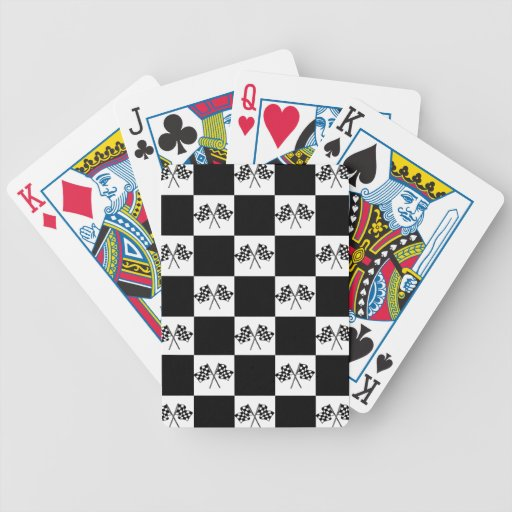 Race Racing Winners Checkered Flags Playing Cards