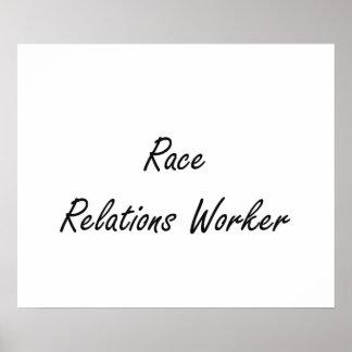 Race Relations Worker Artistic Job Design Poster