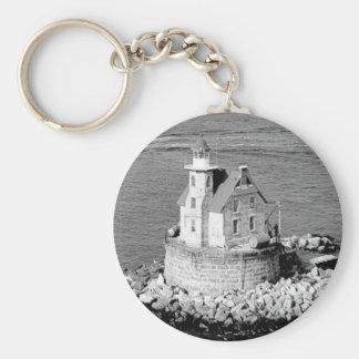 Race Rock Lighthouse Basic Round Button Keychain
