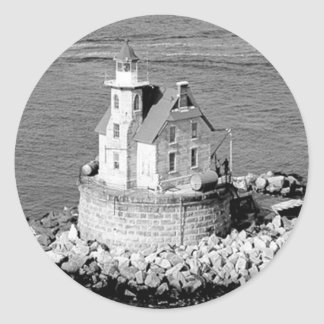 Race Rock Lighthouse Round Stickers