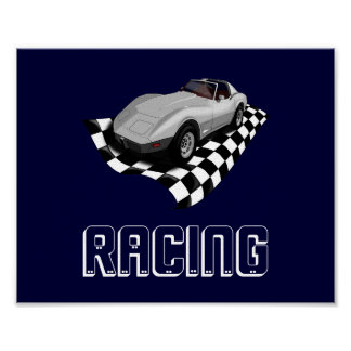 Race Sports Car Fast Loud Mean Corvette Speed Flag Poster