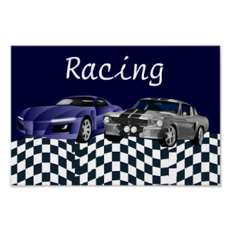 Race Sports Car Fast Loud Mean Speed Flag Checkers Poster
