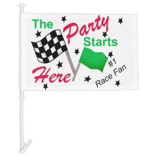 Race Tailgate Party Here Black White Checkered Car Flag