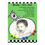 "Race Time Birthday Green 5"" X 7"" Invitation Card"