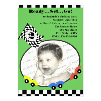 Race Time Birthday/ Green Custom Invitation