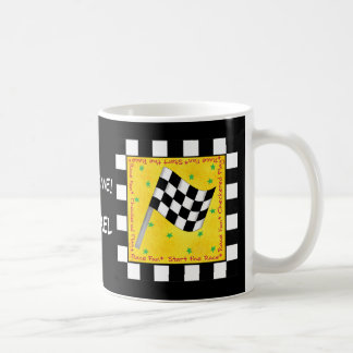 Race Time Name Personalized Checkered Flag Coffee Mug