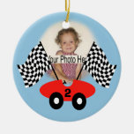 Race Time Photo Decoration Double-Sided Ceramic Round Christmas Ornament