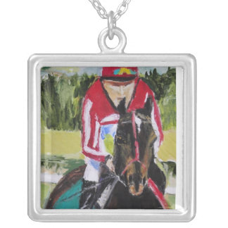 Race to the Finish Square Pendant Necklace
