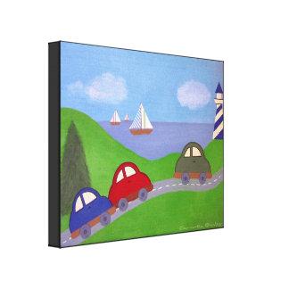 Race to the Regatta - 16x20 Car Boat Kids Wall Art Gallery Wrap Canvas