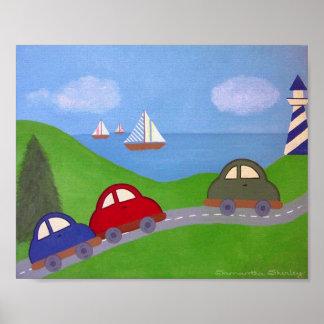 Race To The Regatta - 8x10 Cars Boat Boys Kids Art Poster