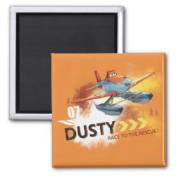 Square Magnet with Dusty Crophopper Race To The Rescue design