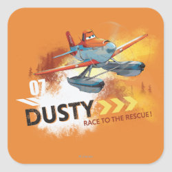 Square Sticker with Dusty Crophopper Race To The Rescue design