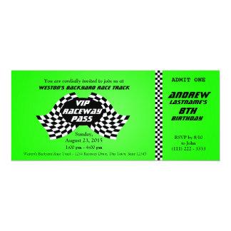 Race Track Pass Birthday Ticket Bright Green Custom Invitations