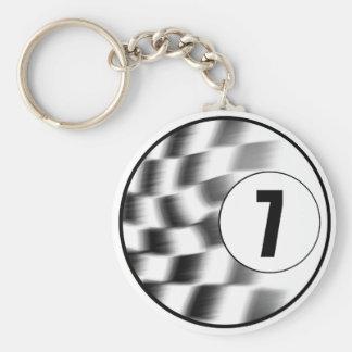 Racecar #7 basic round button keychain