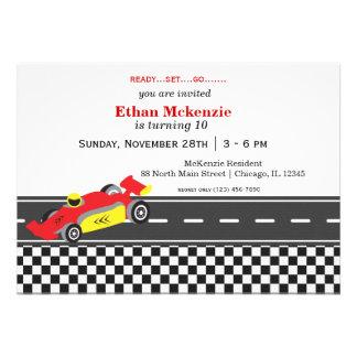 Racecar Birthday Personalized Invitations