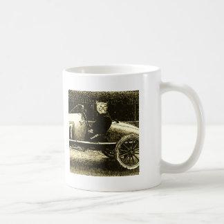 Racecar cat coffee mug