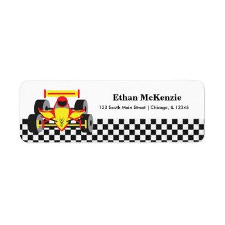 Racecar Etiqueta De Remite