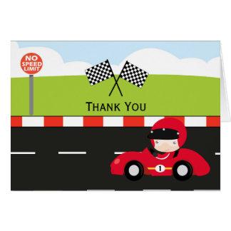 Racecar le agradece cumpleaños tarjeta de felicitación