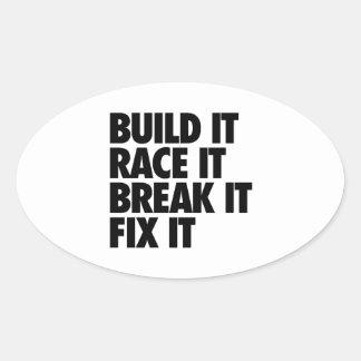 RaceCar Oval Sticker