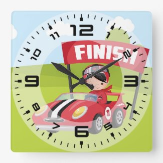 Racecar Racing Square Wall Clock