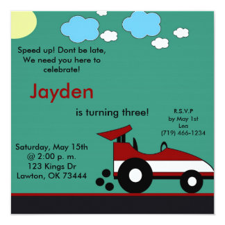racecar, Speed up! Dont be late,We need you her... Custom Invites