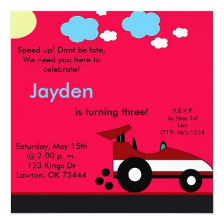 racecar, Speed up! Dont be late,We need you her... Personalized Invites