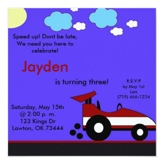 racecar, Speed up! Dont be late,We need you her... Personalized Invitation