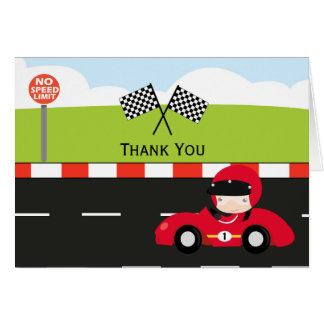 Racecar thank you birthday card