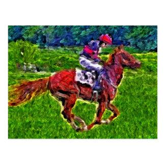 Racehorse and jockey postcard