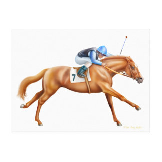 Racehorse in Full Gallop Wrapped Canvas
